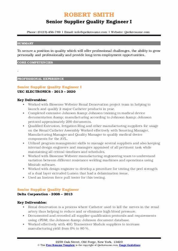senior supplier quality engineer resume samples