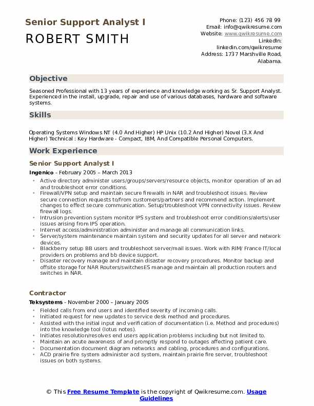 Senior Support Analyst I Resume Format