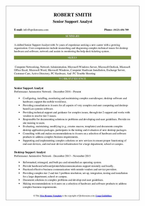 Senior Support Analyst Resume Template