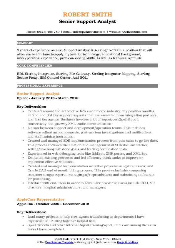 Senior Support Analyst Resume Format