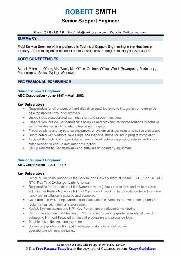 Senior Support Engineer Resume example