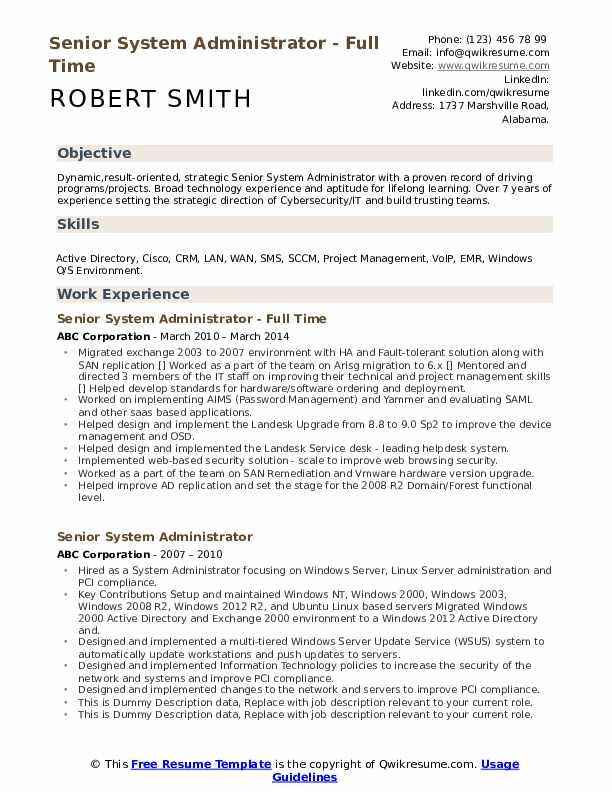senior system administrator resume samples