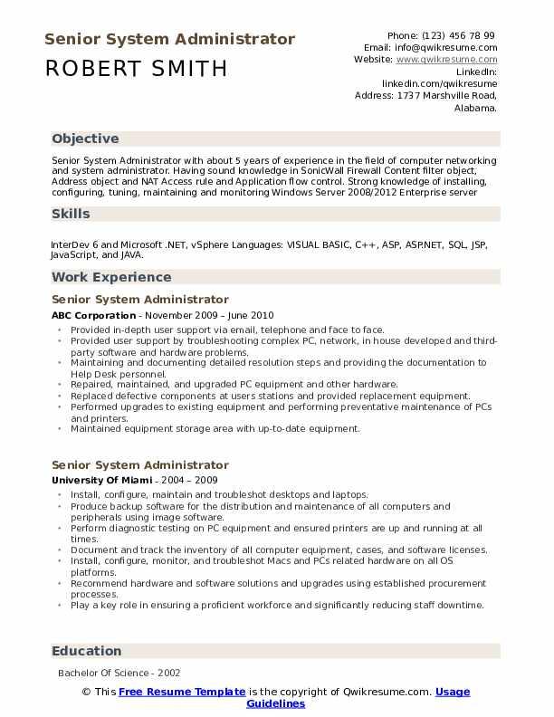 Senior System Administrator Resume example