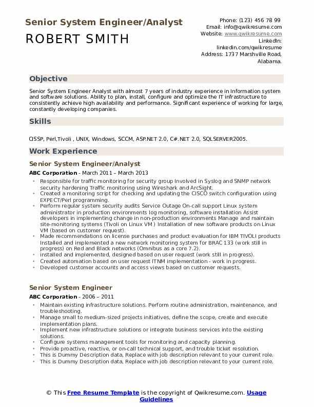 Senior System Engineer/Analyst Resume Sample