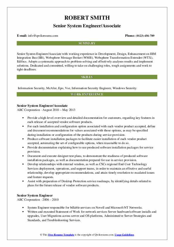 Senior System Engineer/Associate Resume Sample