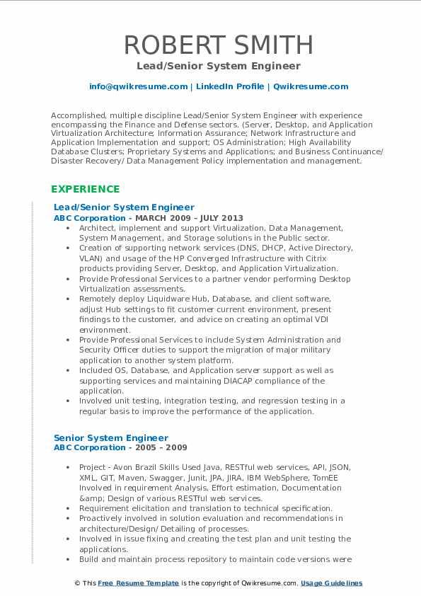 Lead/Senior System Engineer Resume Model
