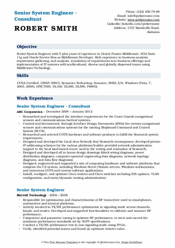Senior System Engineer - Consultant Resume Format