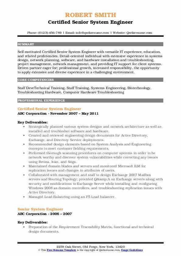 Certified Senior System Engineer Resume Sample