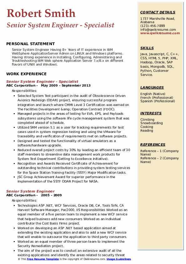 Senior System Engineer - Specialist Resume Sample