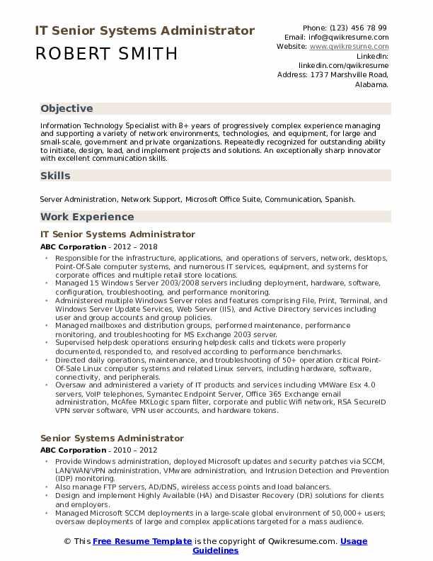 IT Senior Systems Administrator Resume Format
