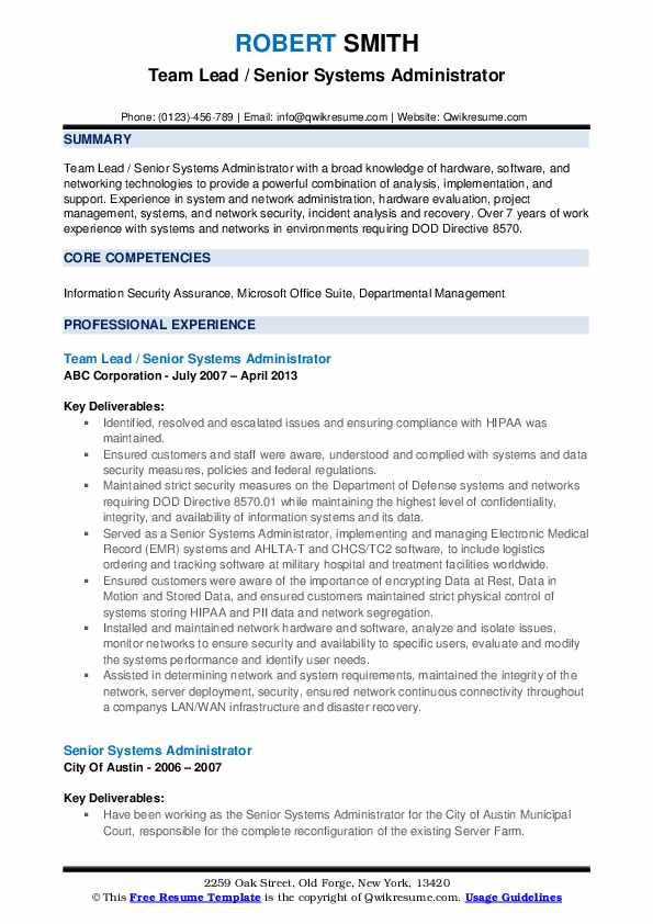 Team Lead / Senior Systems Administrator Resume Template
