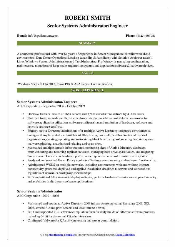 Senior Systems Administrator/Engineer Resume Model