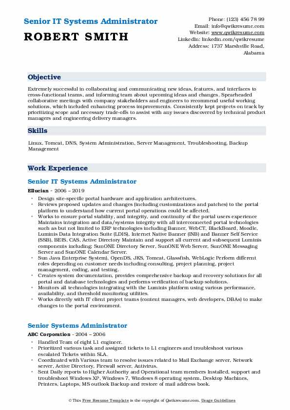 Senior IT Systems Administrator Resume Template