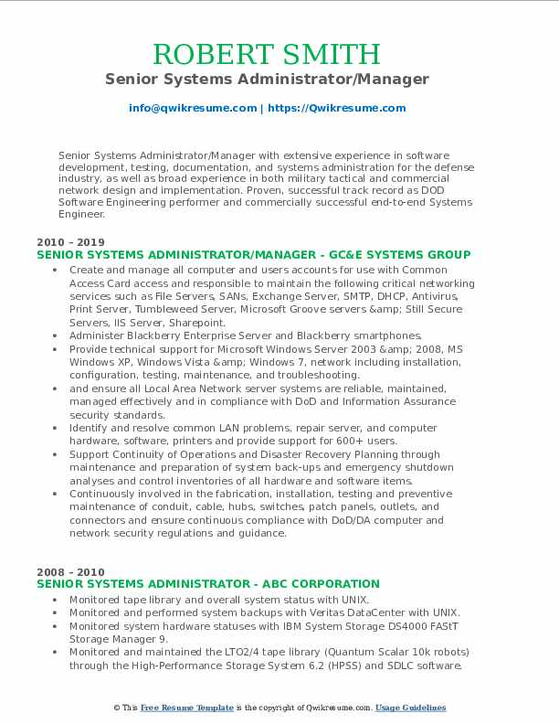 Senior Systems Administrator/Manager Resume Template