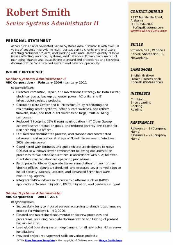 Senior Systems Administrator II Resume Model