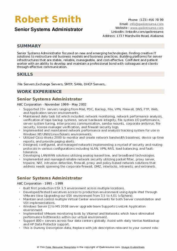 Senior Systems Administrator Resume example