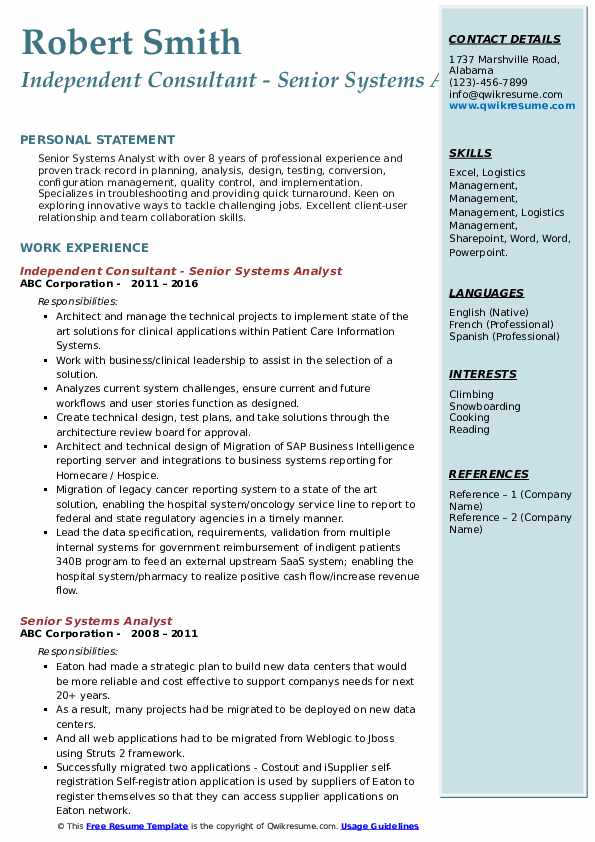 Independent Consultant - Senior Systems Analyst Resume Example