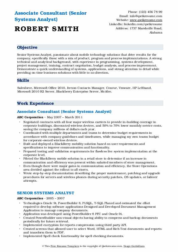Associate Consultant (Senior Systems Analyst) Resume Template