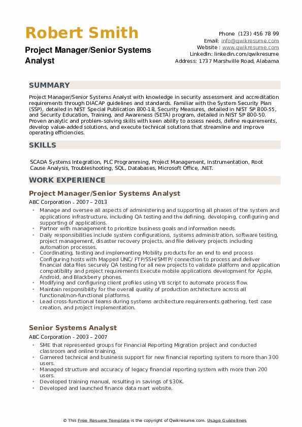 Senior Systems Analyst Resume example