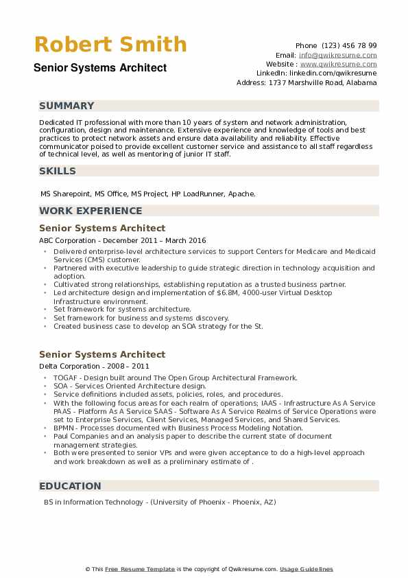 Senior Systems Architect Resume example