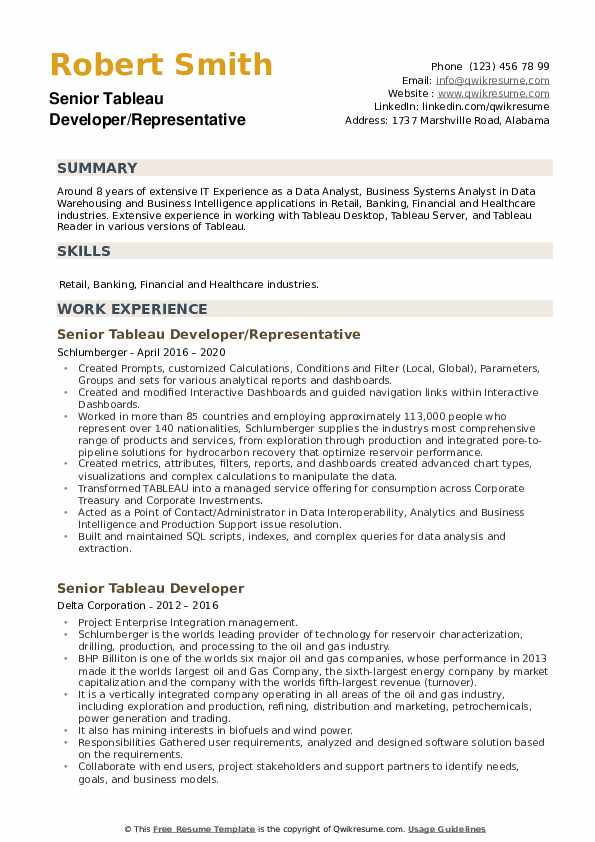 Senior Tableau Developer Resume example