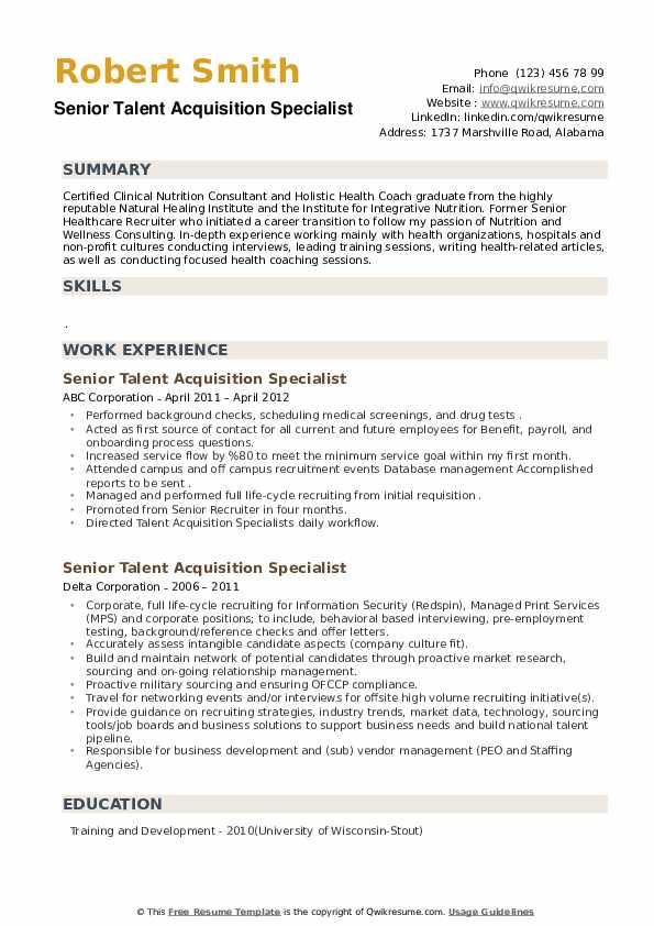 Senior Talent Acquisition Specialist Resume example