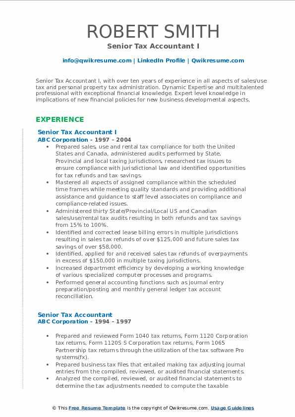 senior tax accountant resume samples  qwikresume