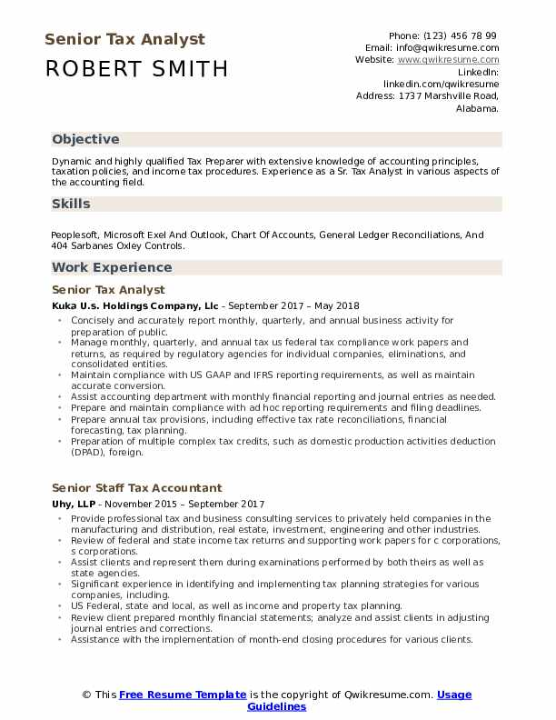 senior tax analyst resume samples