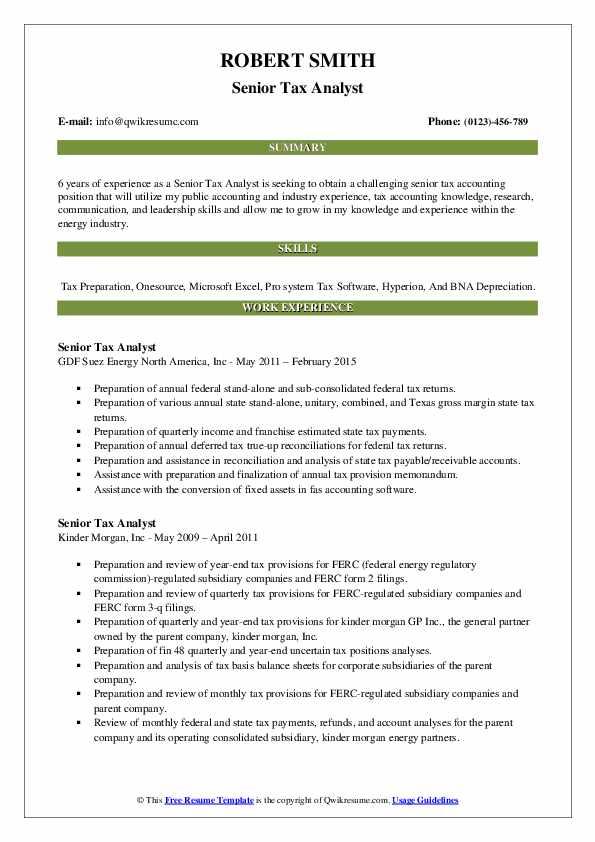 Senior Tax Analyst Resume Model