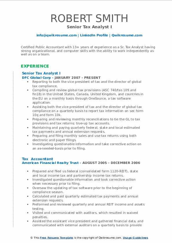 Senior Tax Analyst I Resume Format
