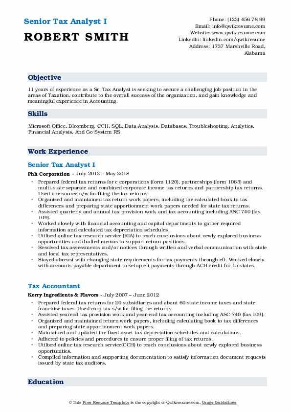 Senior Tax Analyst I Resume Sample