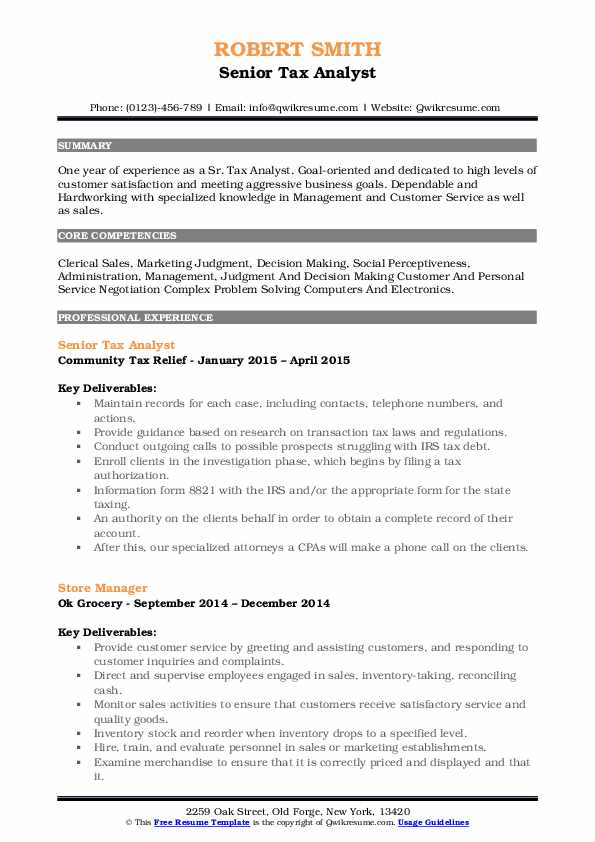 Senior Tax Analyst Resume Format
