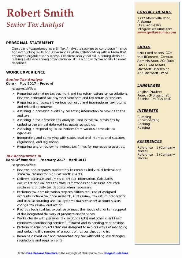 Senior Tax Analyst Resume Example