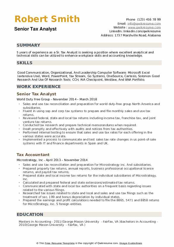 Senior Tax Analyst Resume Example