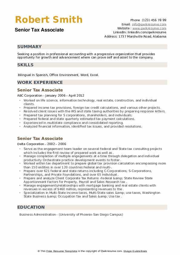 Senior Tax Associate Resume example