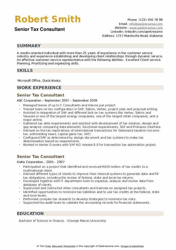 Senior Tax Consultant Resume example