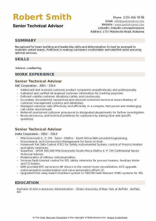 Senior Technical Advisor Resume example