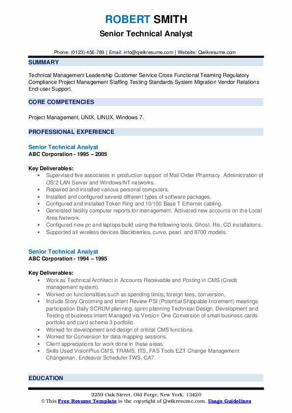 Senior Technical Analyst Resume example