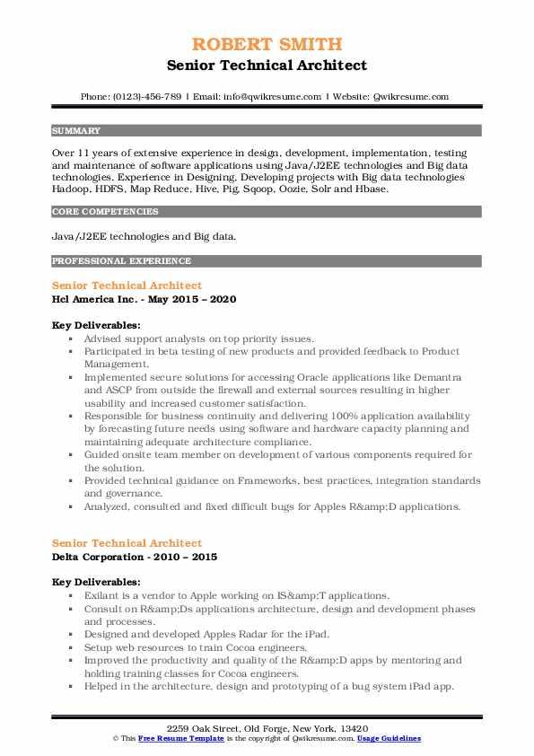 senior technical architect resume samples  qwikresume