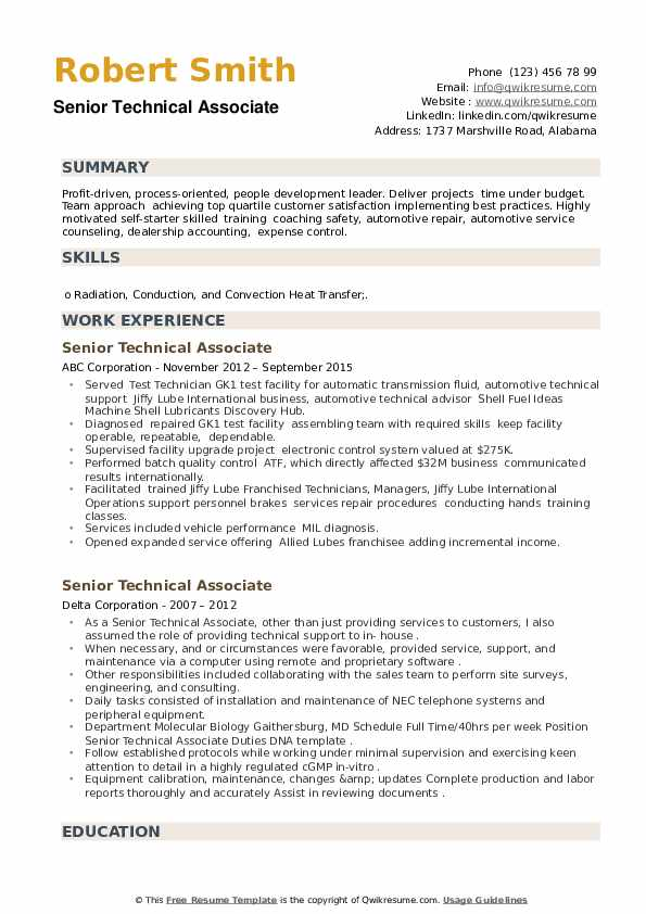 Senior Technical Associate Resume example