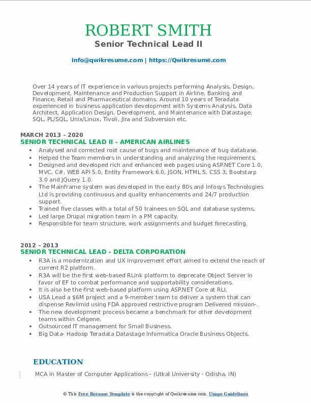 senior technical lead resume samples  qwikresume