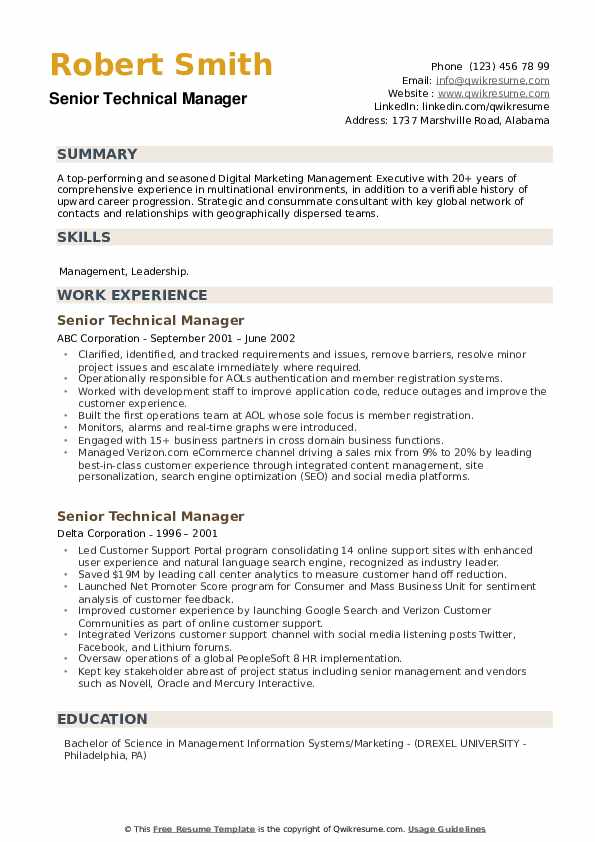 Senior Technical Manager Resume example