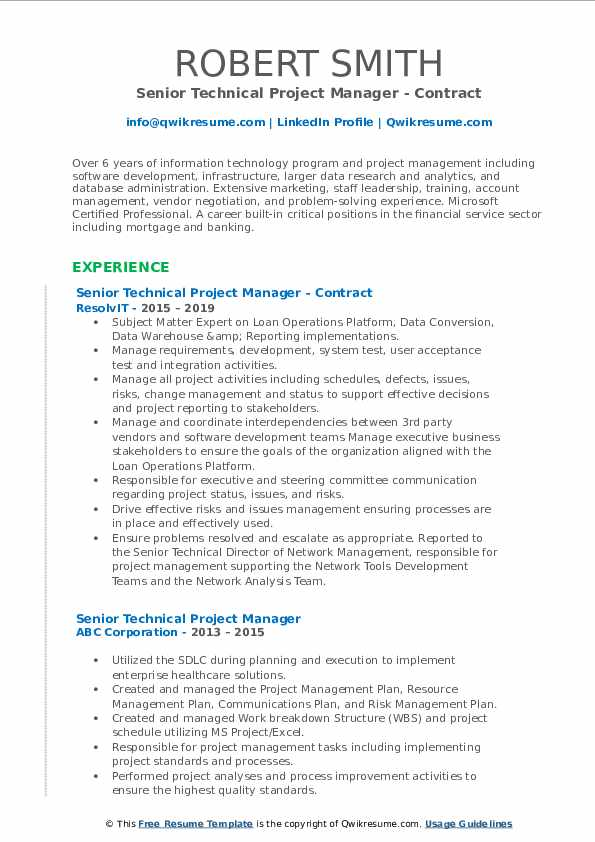 Senior Technical Project Manager Resume Samples Qwikresume
