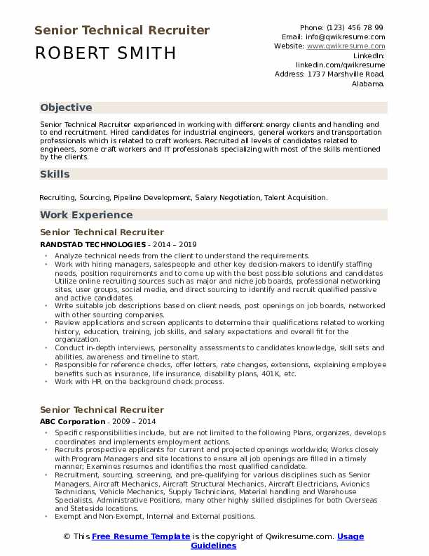 Senior Technical Recruiter Resume example
