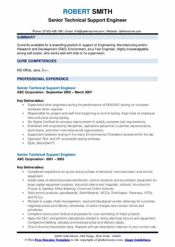 Senior Technical Support Engineer Resume example