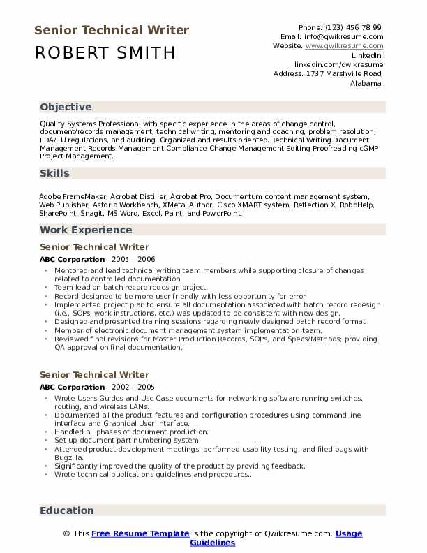 Senior Technical Writer Resume Example