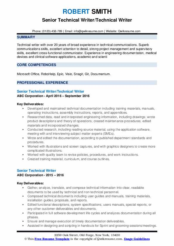 Senior Technical Writer/Technical Writer Resume Model