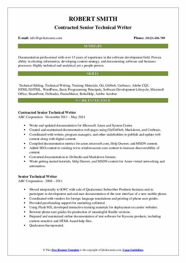 Contracted Senior Technical Writer Resume Format