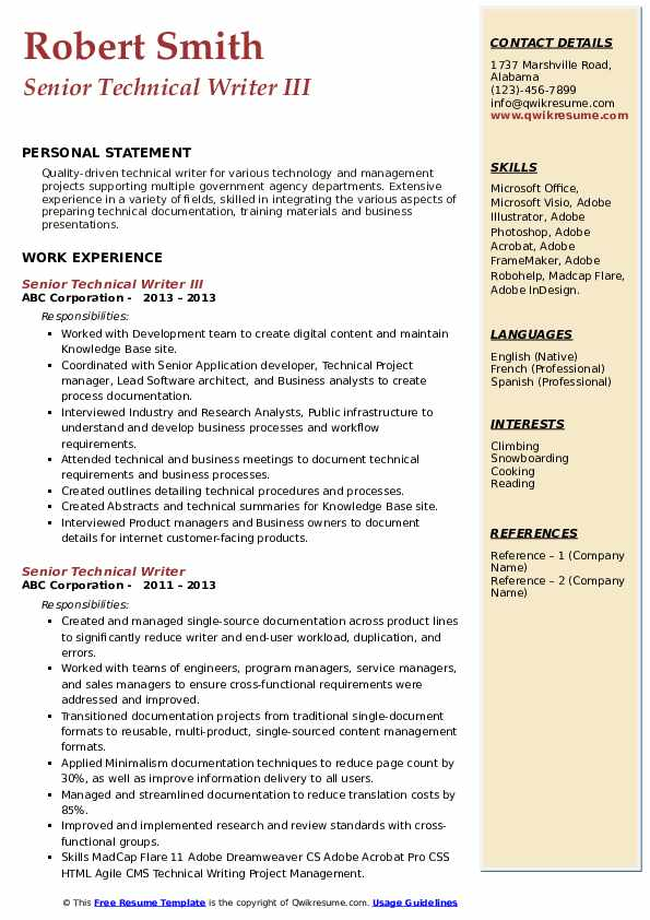 Senior Technical Writer III Resume Format