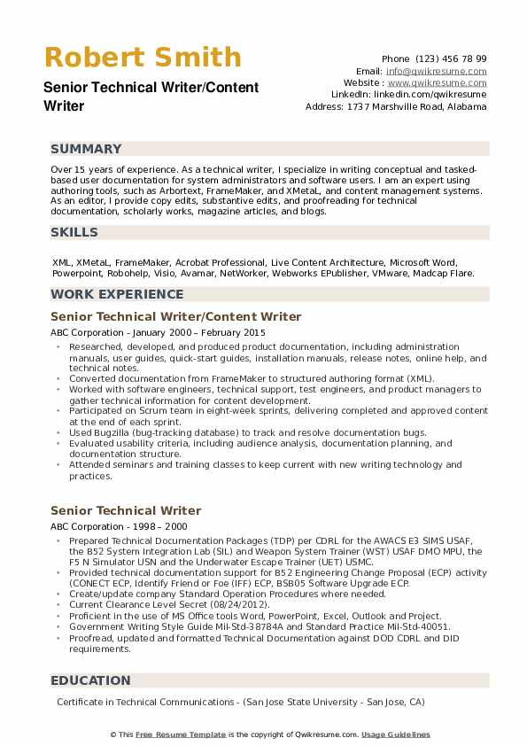 Senior Technical Writer/Content Writer Resume Sample
